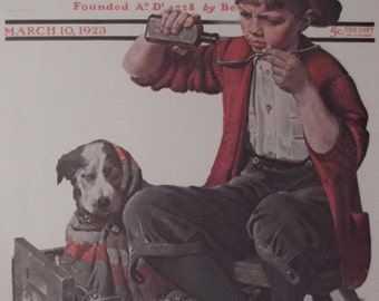 PUPPY LOVE By Norman Rockwell Reproduction Print Christmas Present 1923 The Saturday Evening Post Bookplate Ready To Frame
