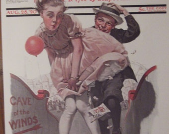 THE CAVE oF tHE WINDS Print By Norman Rockwell For The Saturday Evening Post Bookplate 1920 Ready To Frame
