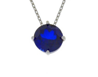 14Kt White Gold Blue Sapphire Round Pendant