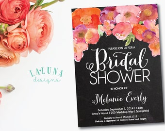 Chalkboard Bridal Shower Invitation, Floral Shower Invitation, Floral Bridal Shower, Rustic Bridal Shower Invite