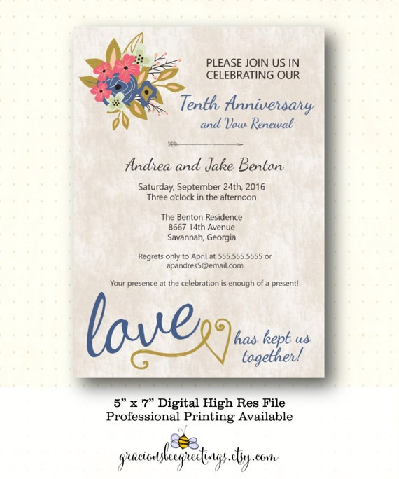 Vow Renewal Invitation 5th 10th 20th 25th By