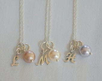 Bridesmaid Necklace - Personalized Bridesmaid Jewelry - Personalized Bridesmaid Gift Pearl Initial Necklace  Bridal Jewelry Wedding Jewelry