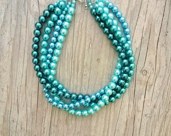 Chunky pearl necklace,Light blue kelly green sky blue forest green multistrand bridal pearl necklace,Gift for wife, for her,for mom,Wedding