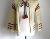 70s Hippie Cardigan / Vintage Wool Jacket / 1970s Boho Cardigan