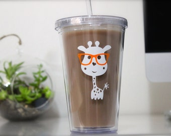 Adorable Optometry BeSpectacled Giraffe Tumbler, IMPRINTED design with personalization available! Durable design, giraffe with glasses