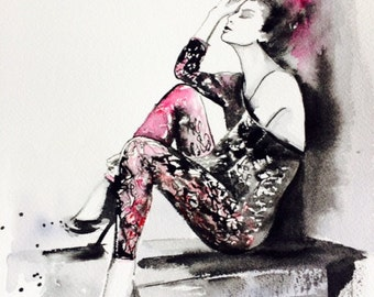 Love Romance Fashion Original Watercolor Painting - Fashion Illustration by Lana Moes - Parisienne - Romantic Home decor