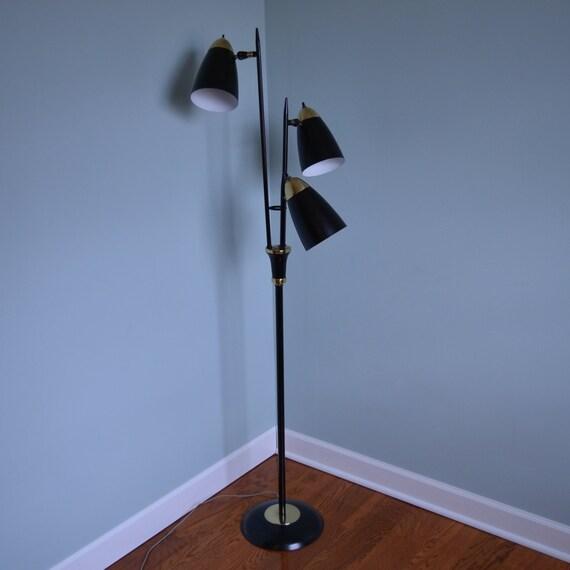 atomic era black and gold metal floor lamp. Black Bedroom Furniture Sets. Home Design Ideas