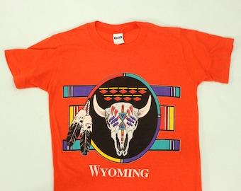 80's Wyoming T-Shirt S M Tribal Skull