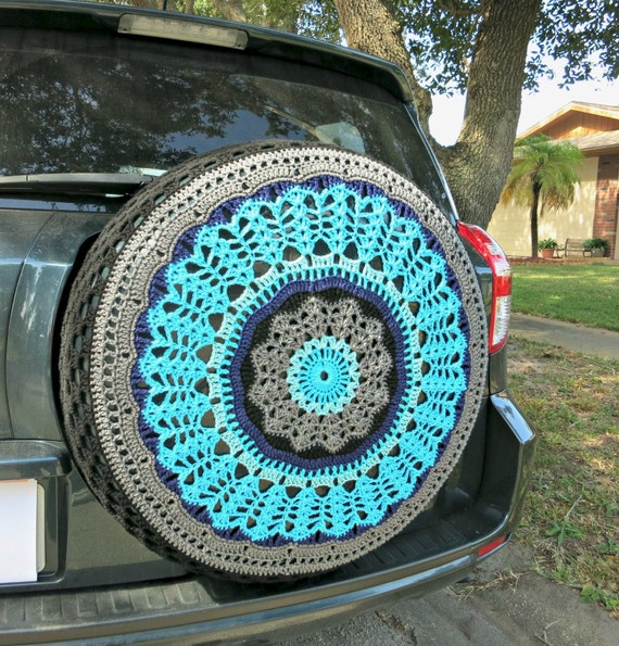 Black And Blues Crocheted Spare Tire Cover By