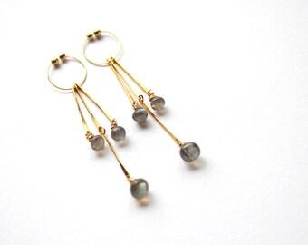 Labradorite Clip On Earrings, Gold Dangle Non Pierced Earrings, Semi Precious Gemstone Jewelry