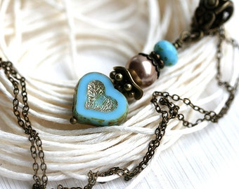 Turquoise Blue Heart Necklace, Romantic Jewelry, Valentine's day gift, Turquoise Beaded Necklace, Heart Pendant by MayaHoney