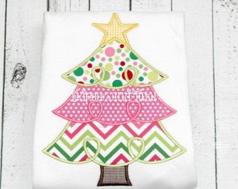 Tree Tshirt, Tee, or Bodysuit, Personalized Whimsical Loopy Christmas Tree Applique, Christmas Tree Applique Shirt or Bodysuit