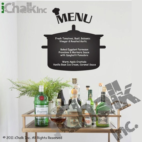 cuisine menu planificateur tableau noir sticker autocollant de. Black Bedroom Furniture Sets. Home Design Ideas