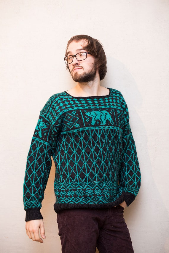 Knitting Patterns For Nordic Sweater : Men wool sweater Dale of Norway pattern/ Nordic knitted