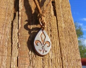 Fleur-de-Lis Necklace. Etched Coin Pendant made from a Quarter. New Orleans Charm. NOLA Necklace