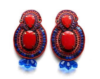 FIRE WATER soutache earrings in  blue and red with Free Shipping