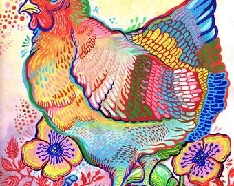 Garden Chicken print - 8x10