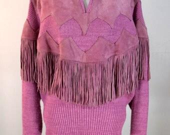 Vintage Pink Sweater Western Suede Fringe Pioneer Knit Top Prairie Boho Cowgirl Jumper Medium