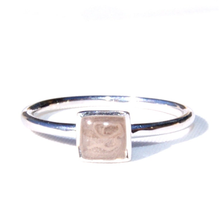 Simple Band Cremation Ring with 5mm Square Princess Setting