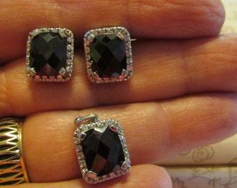 Garnets, January Birthstone, Pierced Garnet Earrings & Matching Pendant Silver Settings, 3 Piece Set ~ BreezyTownship.etsy.com  -- JS001