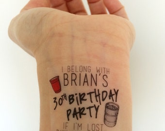 15 Custom Red Solo Cup / Keg Birthday Party Temporary Tattoos - for guys!