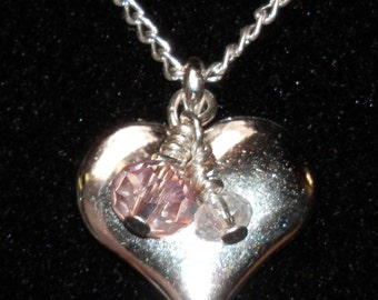 N3 Puffy silver heart charm necklace with crystals