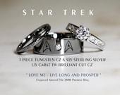STAR TREK Tungsten and 925 Sterling Silver 1.15 Carat CZ Wedding Ring Set, 8mm Star Fleet Insignia All Custom Engraved