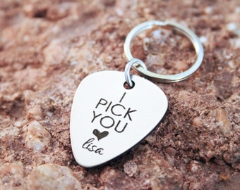 Guitar Pick Keychain - Personalized I Pick You Boyfriend Husband Gift - Music Lover Musician Personalized Engraved Keychain