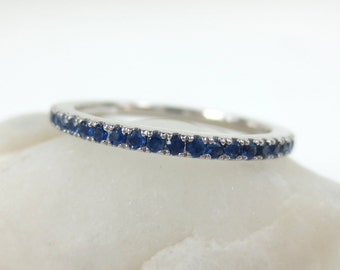 1.7mm Pave Blue Sapphire 18k White Gold Eternity Band