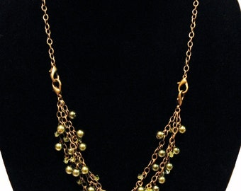 Peridot Triple-Style Glass Pearl and Bicone Beaded Necklace