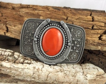 Western Belt Buckle -Natural Stone Belt Buckle -Cowboy Belt Buckle - Antique Silver Tone Belt Buckle with a Cayenne Red Jasper Stone