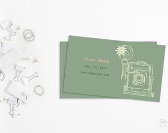 Printable business card design Photographer business card design Retro Photography business card