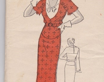 New York Pattern 515 Antique Pattern 1930's Dress UNCUT Size 18  (36 Bust)