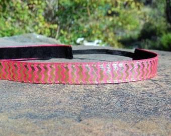 Pink and gold chevron headband. Pink headband, chevron headband, fuchsia headband, women's pink headband, girl's pink headband, accessory