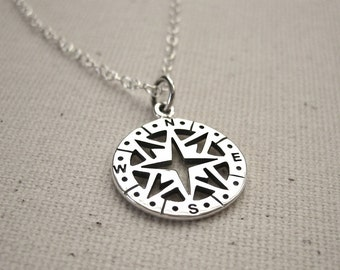 Cutout Compass Necklace Sterling Silver - Graduation Gift, Journey Necklace, Traveler Pendant, Customize Personalize