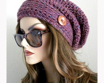Crocheted Slouchy Beanie, Oversized Beanie, Women's Slouchy hat, Boho, Winter hat, Crocheted Slouch Beanie, Knit slouch hat, Womens Beanie