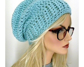 Slouchy Beanie hat, Seafoam Green slouchy Hat, Beanie,Croched Slouch Hat, Boho Chic,Hand Crocheted hats, womens fashion, accessories