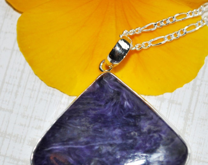 Purple Charoite Stone pendant necklace with sterling silver chain  Boho, simple, gemstone, everyday wear