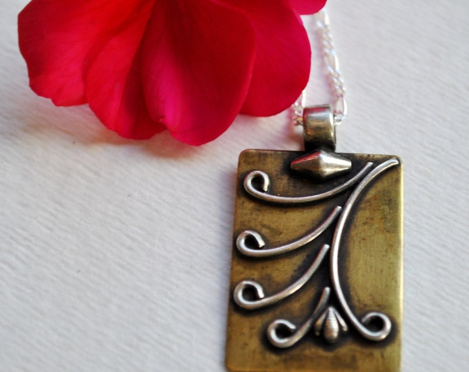 East Indian brass and silver pendant necklace on Sterling Silver chain  boho, simple, minimalist