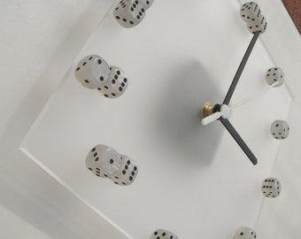 White pearl dice on frosted acrylic square wall clock