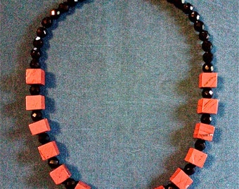 Red Jasper and Faceted Black Glass Bead Necklace