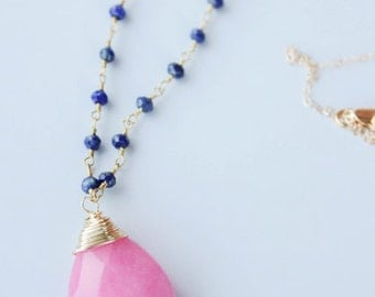 SALE! Pink jade pendant 14k gold wire wrapped lapis 14k gold chain necklace