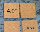 """4.0 Inch SQUARE Blank Cork Coasters, 1/8"""" Thick, 6-pack"""