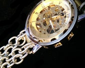 NYC Designer Silver & Gold Mechanical Skeleton Watch Vtg Chain Fabulous - See the Gears Work!