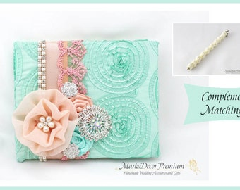 Wedding Lace Guest Book Pen Set Custom Jeweled Bridal Flower Brooch Guest Books Beaded Birthday Guest Book in Peach and Mint