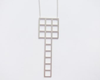 Tetris necklace silver