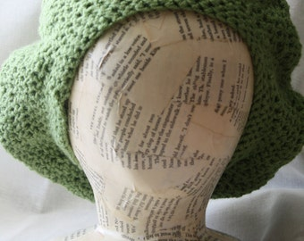 Slouchy Beret Style Crochet Hat | Apple Green | Machine Washable | Vegan