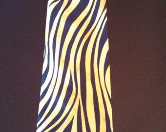 Animal Print Tie/ Animal print necktie/ Mens tie/ Zebra tie/ Zebra necktie/ wild tie/ wild necktie/ colored zebra print tie/ gold and black