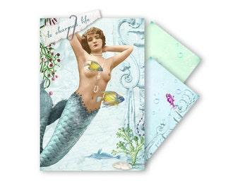 Digital Printable Envelopes Mermaid Collage Vintage Beach Ocean Turquoise Sea Green