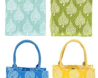 Monogrammed Mini Tote Bag Seashell Hunting Bag Blue Yellow Green